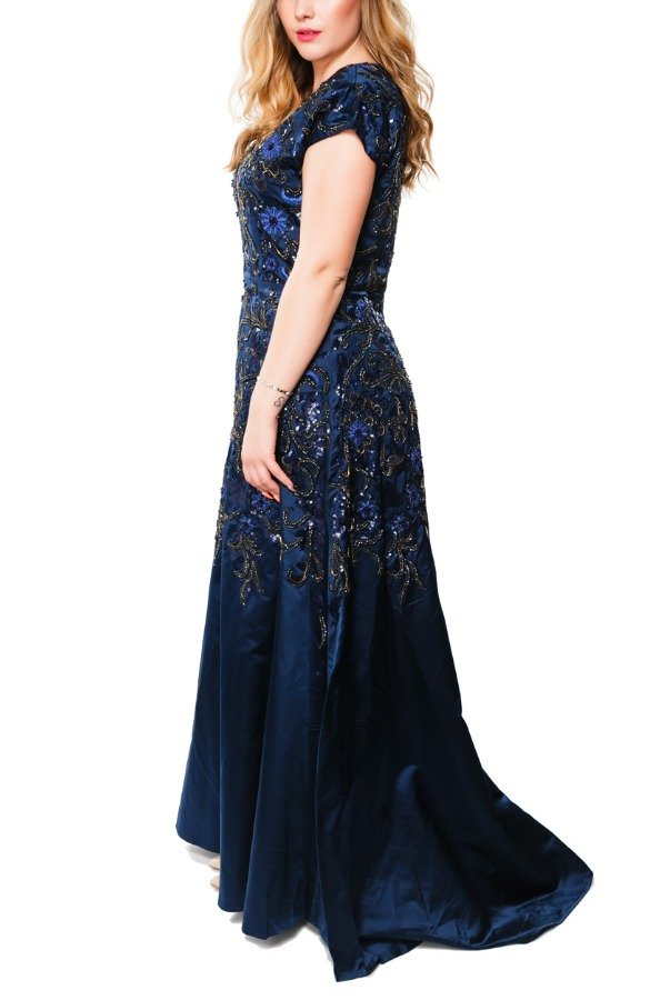Mikael Aghal Navy Beaded Floral Embellished Gown