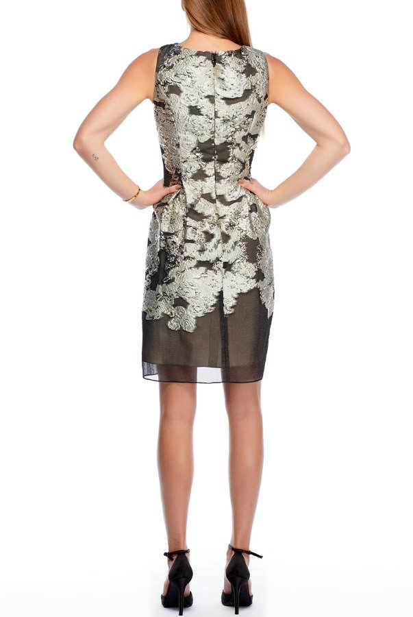 Lela Rose Metallic Silver Floral Pattern Sheer Dress