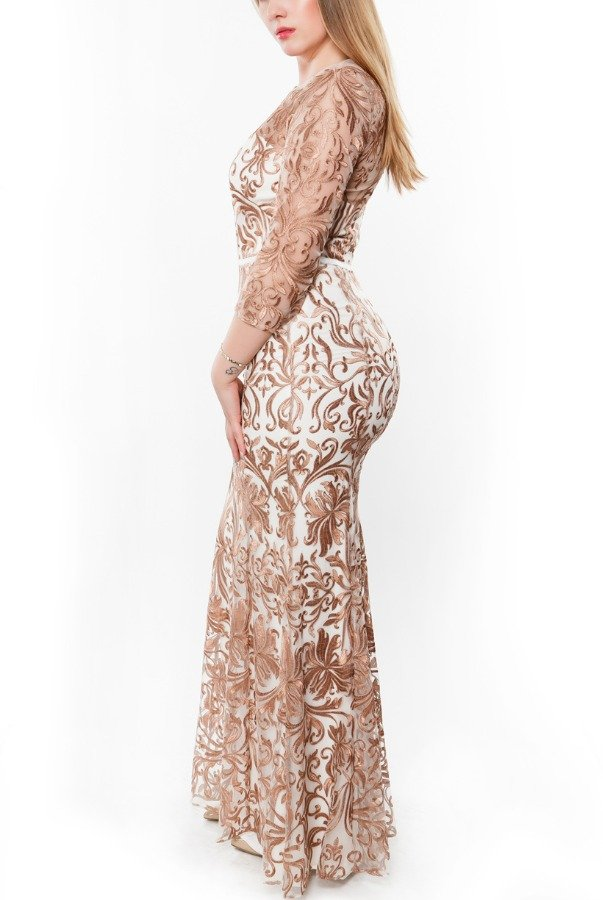 Marchesa Gold Floral Embroidered  Organza Gown