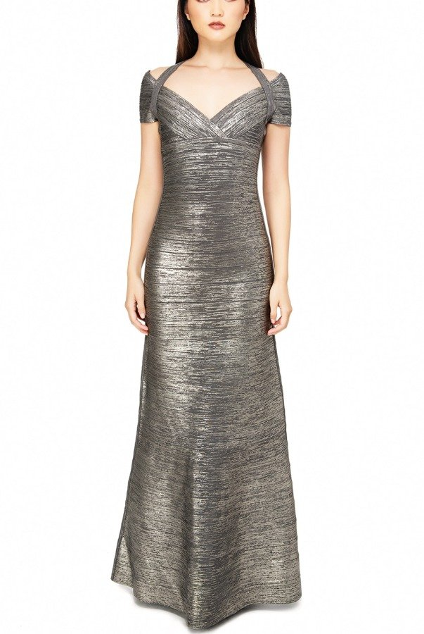 Herve Leger Woodgrain Foil Metallic Bandage Knit Gown