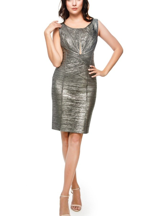 Herve Leger Gunmetal Silver Short Cut Out Bandage Dress