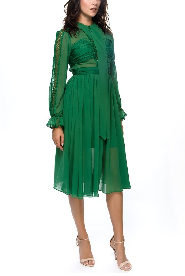 Self Portrait Green Chiffon Pussy-Bow Dress