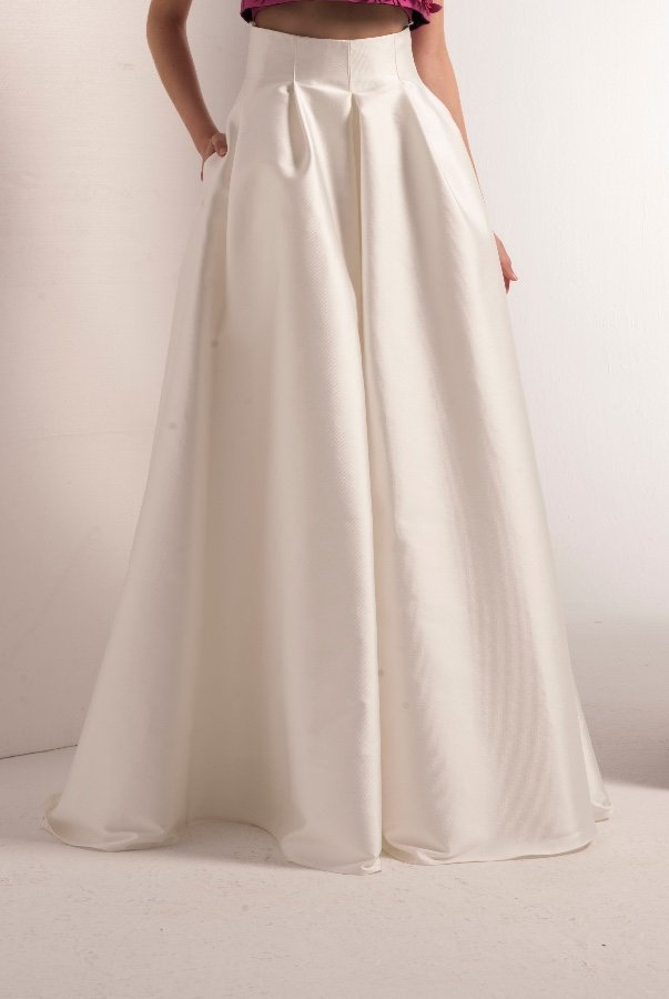 John Paul Ataker White Mikado Pleated Skirt