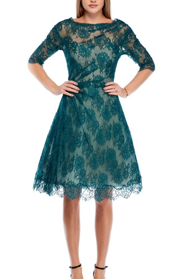 Monique Lhullier Teal Floral Embroidered  Organza Overlay Dress