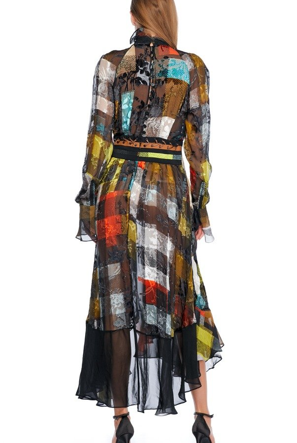Preen By Thornton Bregazzi High Neck Long Sleeve Chiffon Patchwork Dress