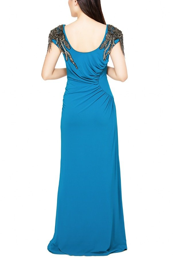 Alberta Ferretti Blue Cap Sleeve Sheath Gown
