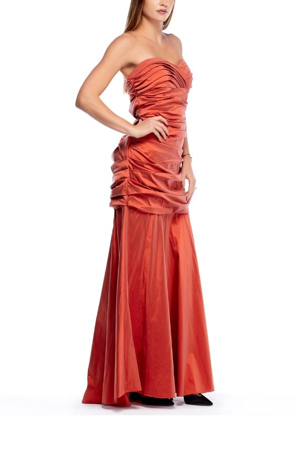 Theia Orange Ruched Mermaid Gown