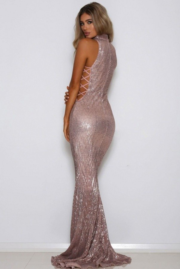 Abyss by Abby Blush Sequin Cutout High Neck Gold Gown