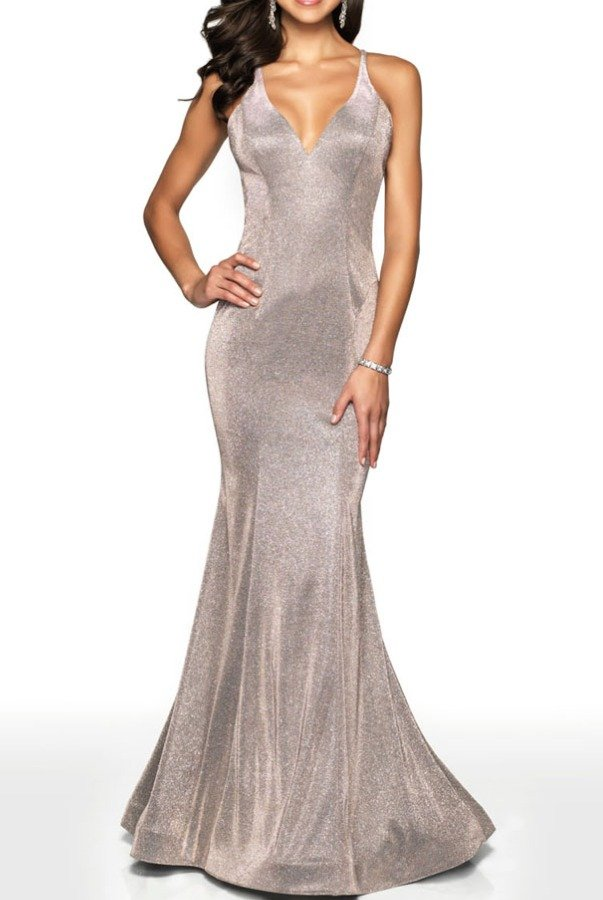 Blush Prom Prom Fitted Shimmer Gown With Open Back 11726