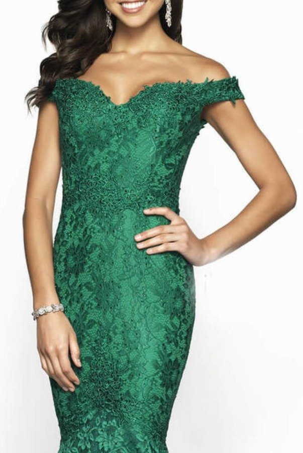 Blush Prom Emerald Green Off Shoulder Mermaid Gown Dress 425