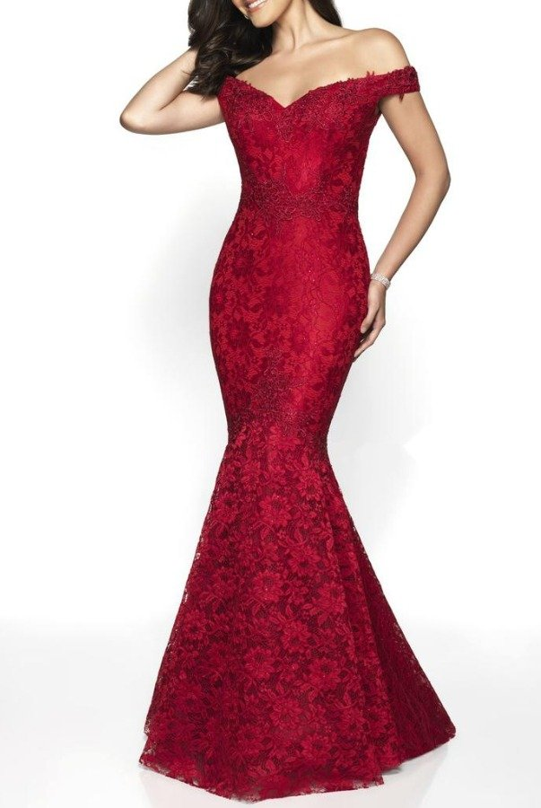 Blush Prom Red Off Shoulder Lace Embellished Mermaid Gown