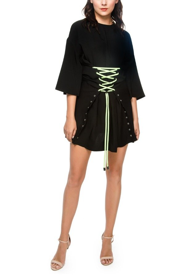 Versus Versace Black and Neon Green String Cocktail Dress