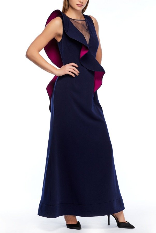 Nero by Jatin Varma Sleeveless Navy and Fuschia Ruffled Gown