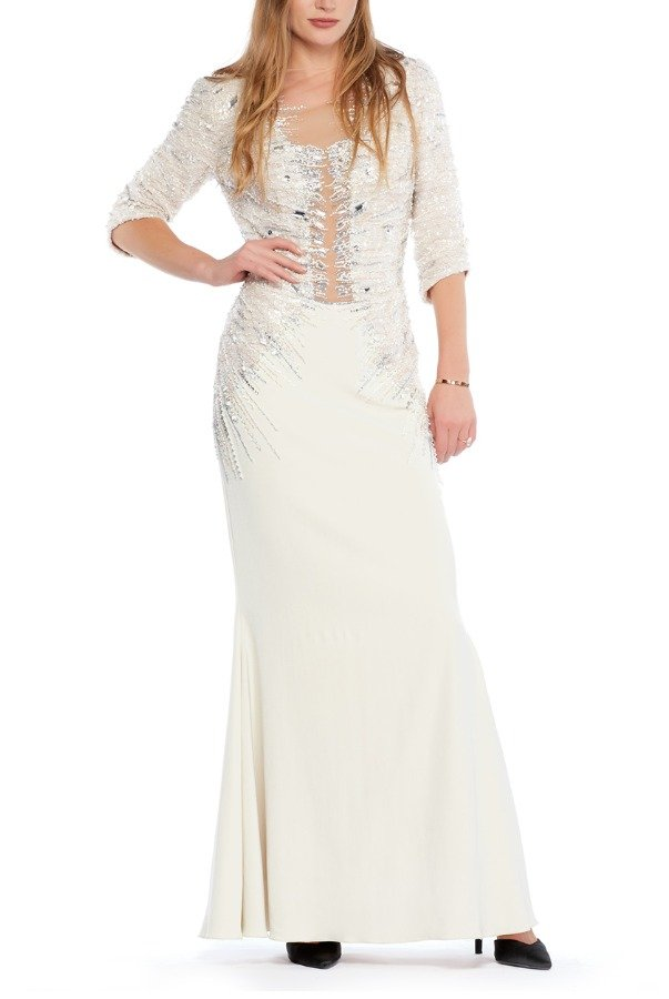 Mandalay Ivory Stone Embellished Long Sleeve Mermaid Gown