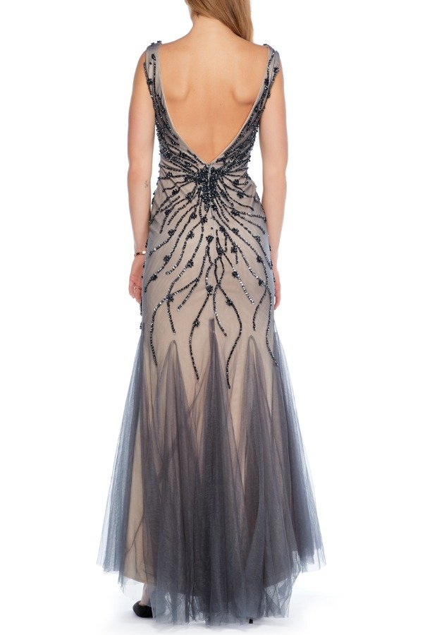 Jovani Grey Stoned Chiffon Mermaid Dress