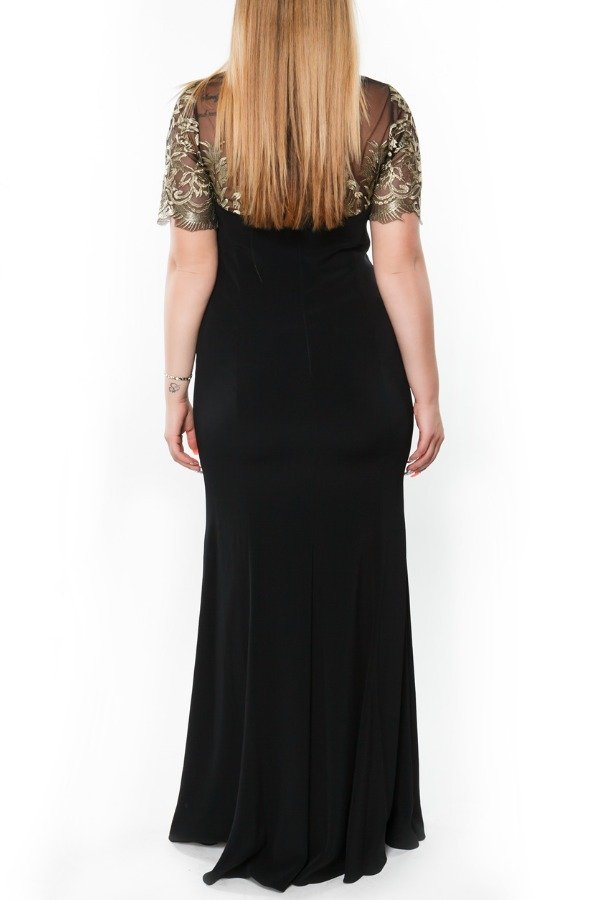 Mikael Aghal Black Sheer Panel Floral Embroidered Dress