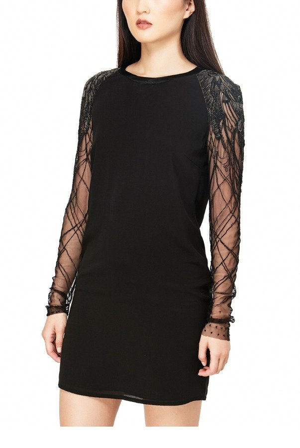 Jasmine Di Milo Black Silk with Embellished Sleeves Mini Dress