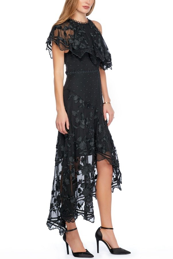 Zimmermann Appliqued Silk Chiffon Black Lace Dress