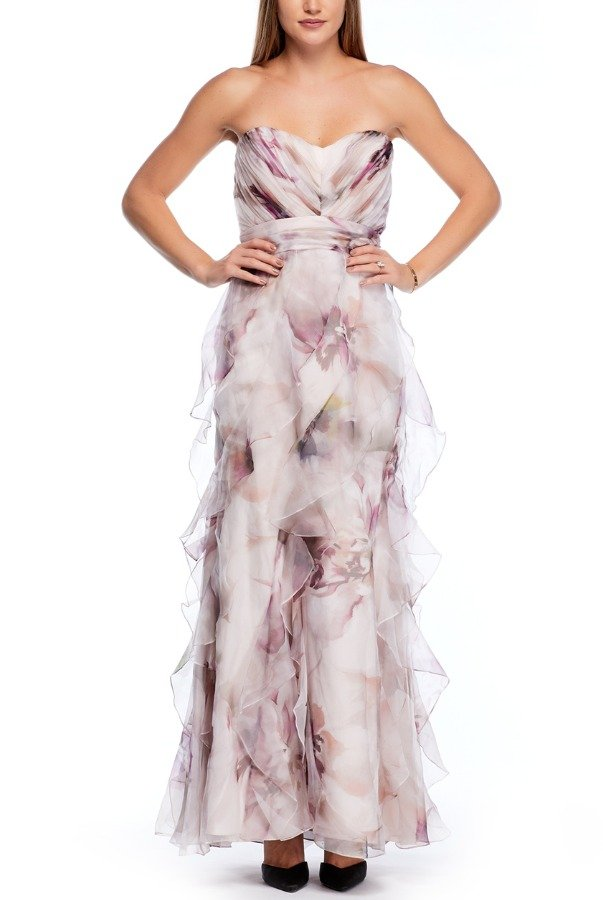 Badgley Mischka Multi Colored Strapless Floral Silk Chiffon Gown