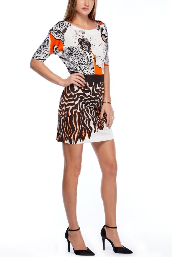 Cavalli Class Animal Printed Cocktail Dress