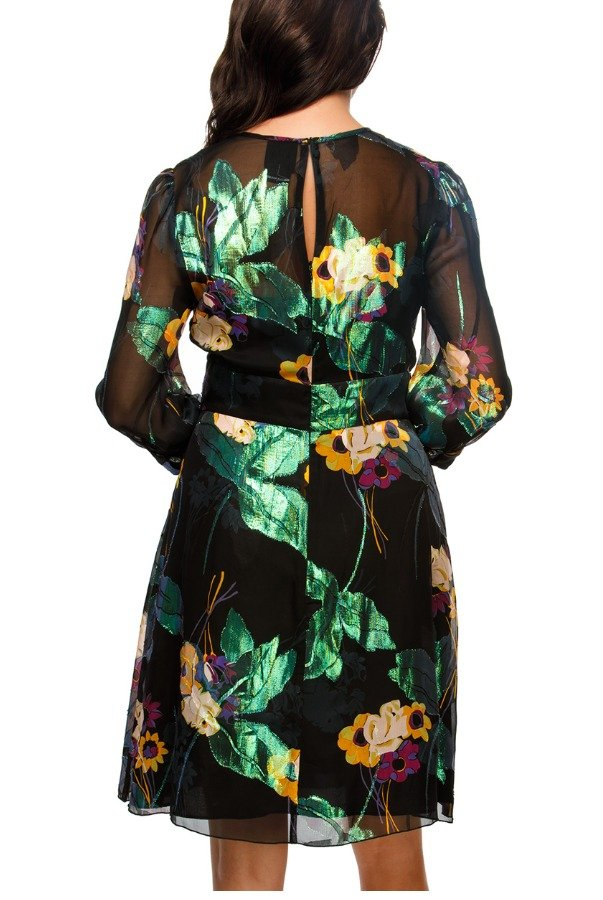 Anna Sui Metallic Floral Sheer Cocktail Dress