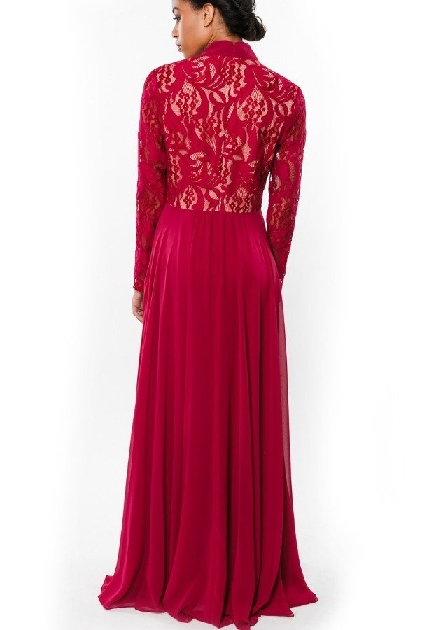 Mikael Aghal  Red Long Sleeve Floral Embroidered Gown