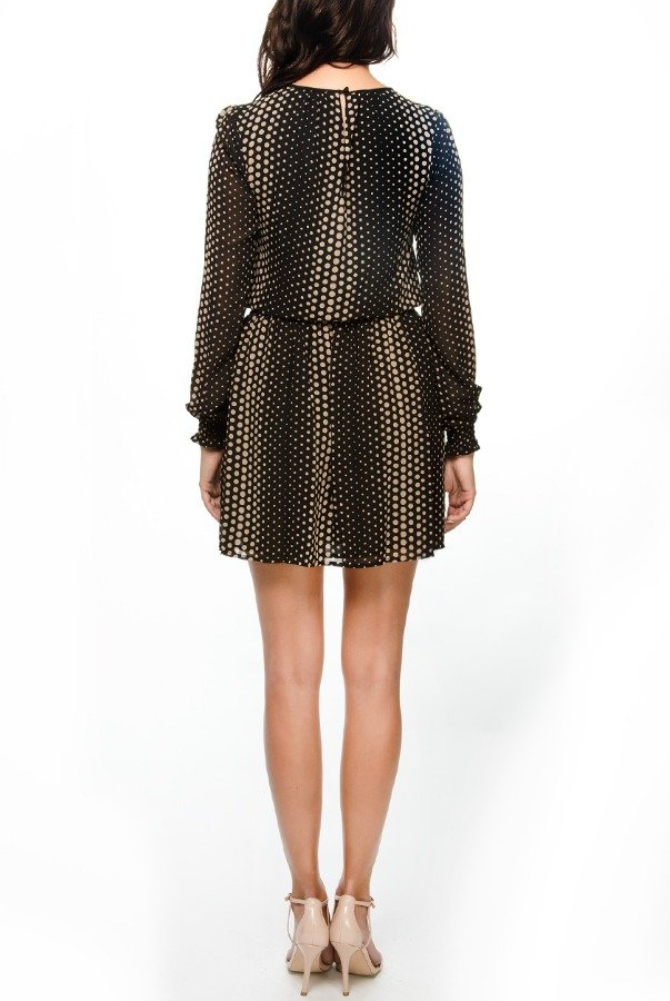 Michael Kors Crepe Polka Dot Printed Cocktail Dress