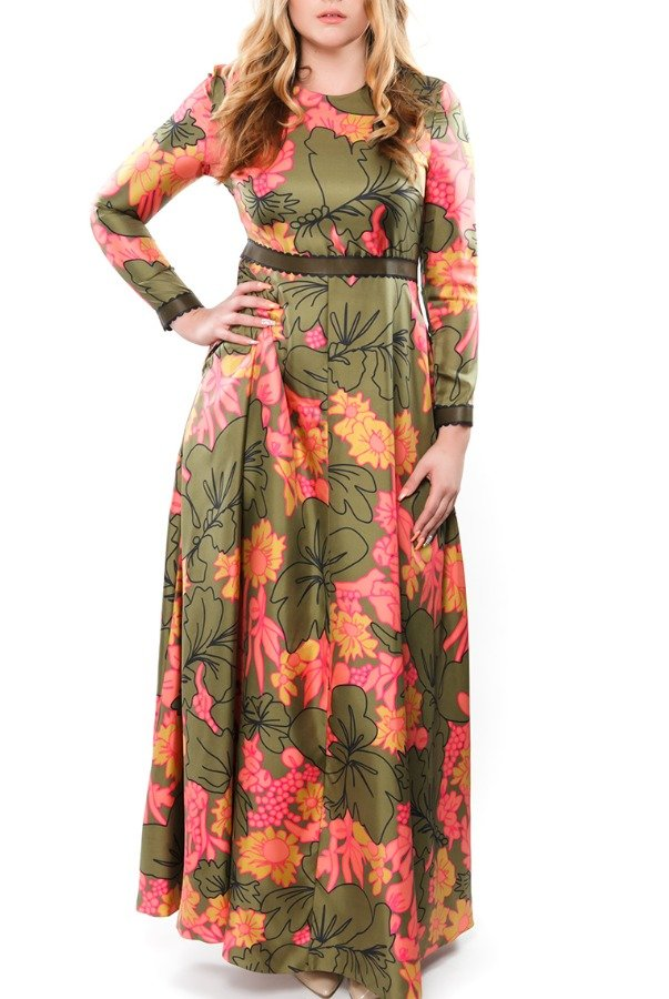 Roksanda Moss Green Long Floral Maxi Dress