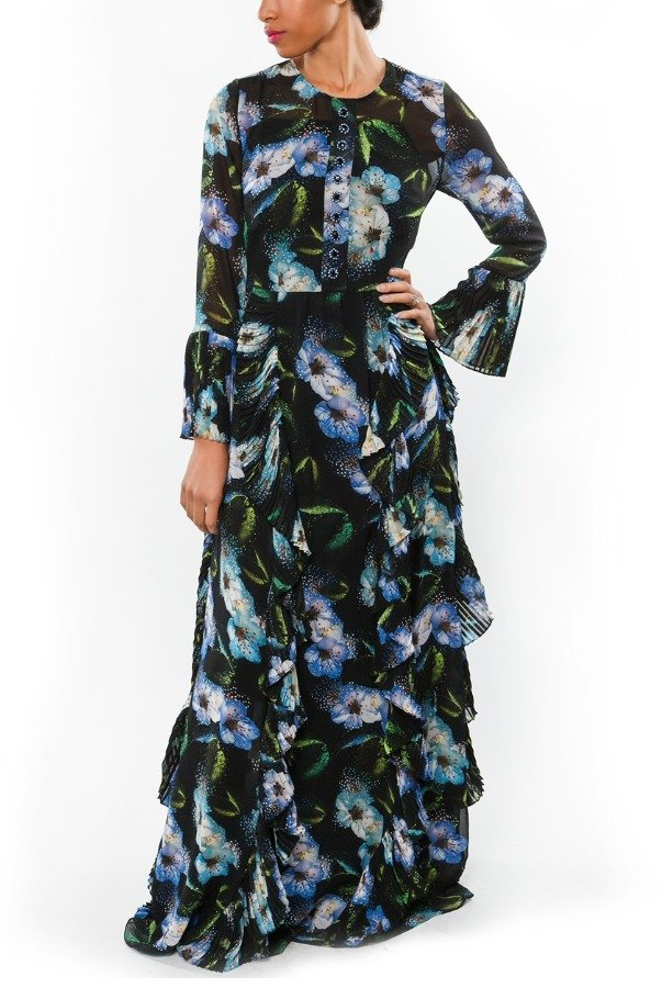 Mikael Aghal Black and Blue Floral Ruffled Maxi Dress