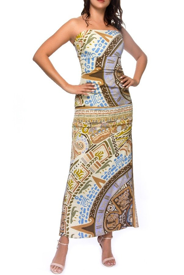 Nicole Miller Silk Strapless Printed Maxi Dress