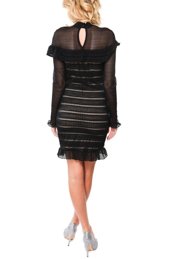 Nightcap Black Laced Long Sleeve Ruffled Dress