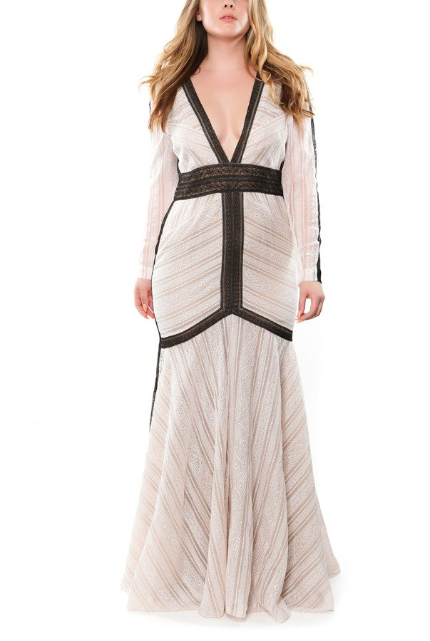 J Mendel Two Toned Long Sleeve Plunging Neckline Gown