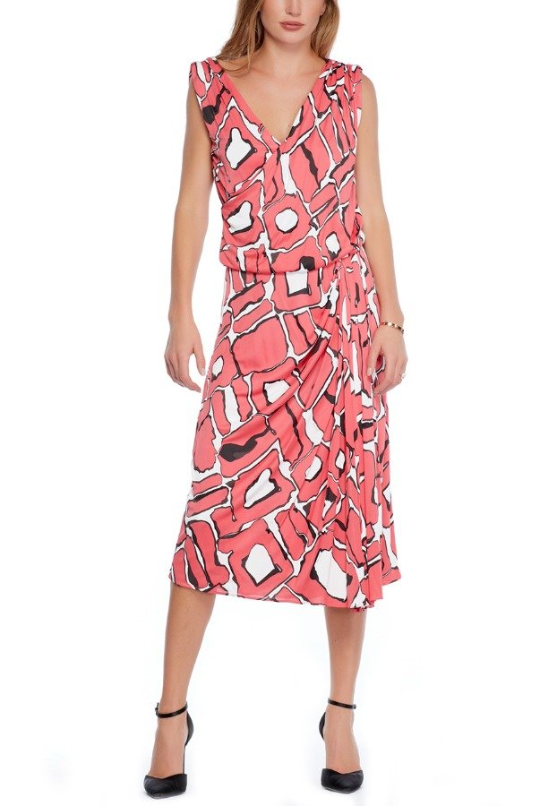 Escada Pink White Logo Escada Printed Maxi Dress