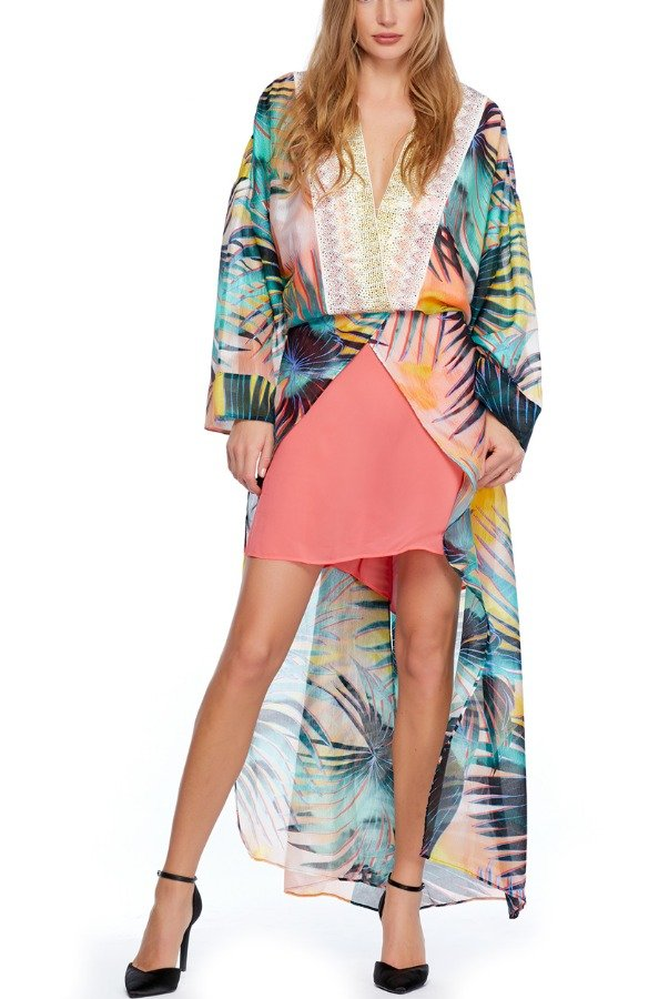 Just Cavalli Tropical  Hawaiian Teal Kaftan Dress