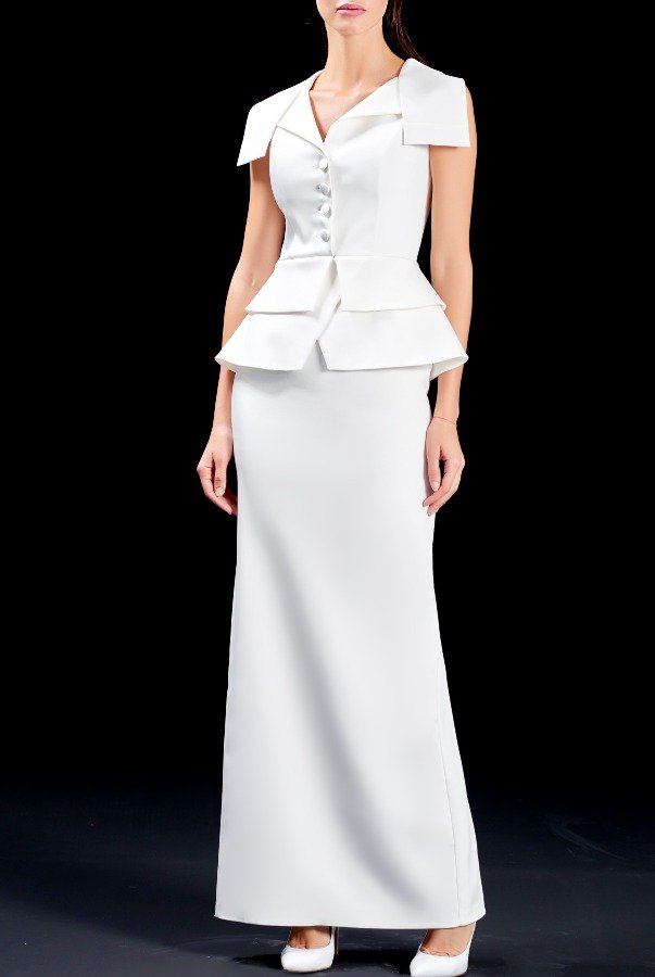 John Paul Ataker Structured faille long dress peplum white gown
