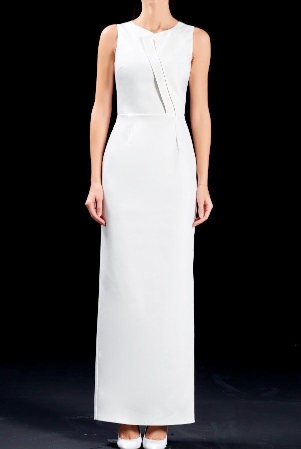 John Paul Ataker Faille structured long white dress