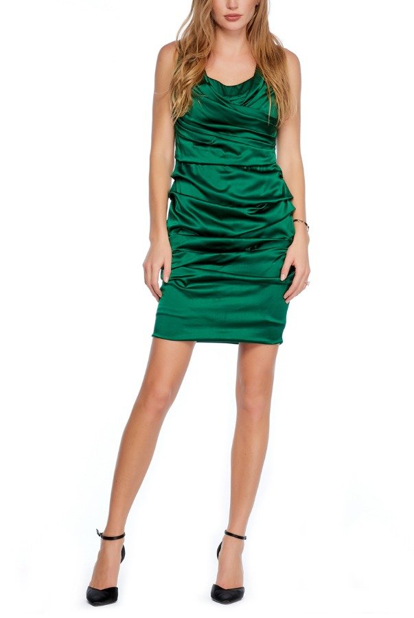 Dolce Gabbana Vintage Emerald Ruched Draped Dress