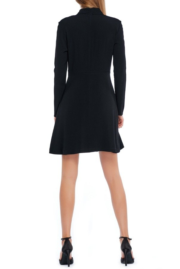 Sandro Black Stitched Collar Long Sleeves Dress