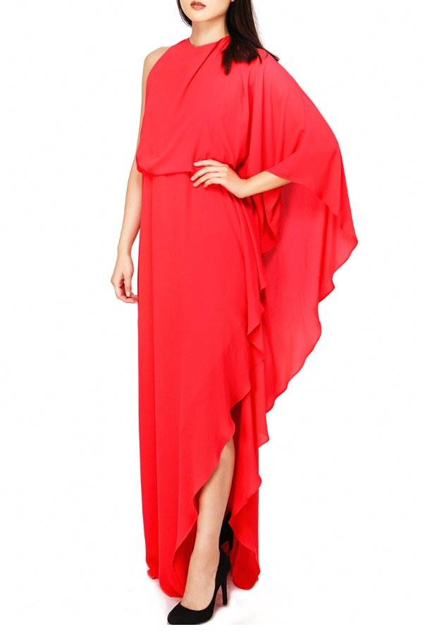 Halston Heritage Red One Sleeve Silk  Kaftan Dress