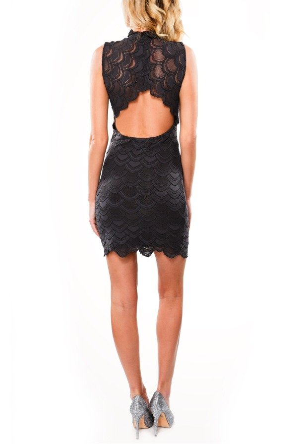 Nightcap Dark Grey Sleeveless Back Cut Out LaceDress
