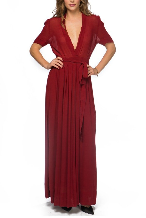 Isabel Marant Etoilet Short Sleeve Belted A Line Maxi Dress