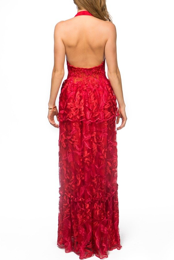 Ana María Brazil Red Floral Embroidered Lace Tiered HalterGown