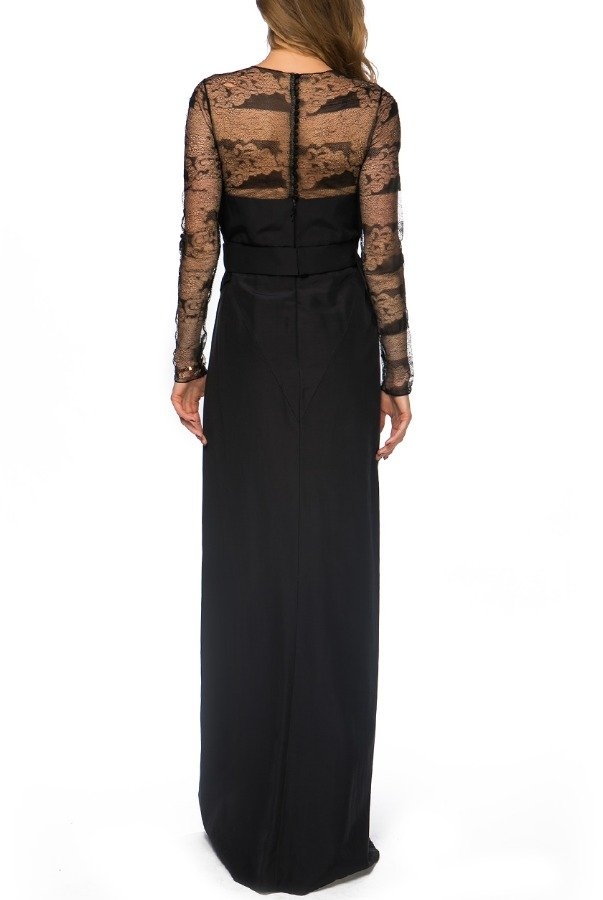 J Mendel Black Lace Floral Embroidered Sheer Panel Dress