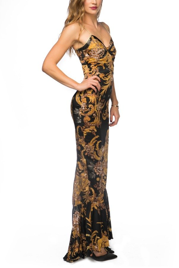 Just Cavalli Black and Gold Fleur Printed Mermaid  Dress