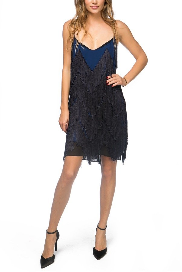 Galvan London Royal and Navy Blue Fringed V Neck Cocktail Dress