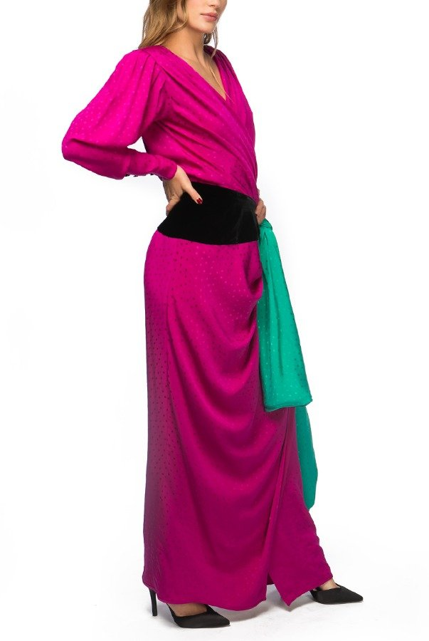 Emanuel Ungaro  Fuchsia Silk Wrap Evening Gown with Bow Detail