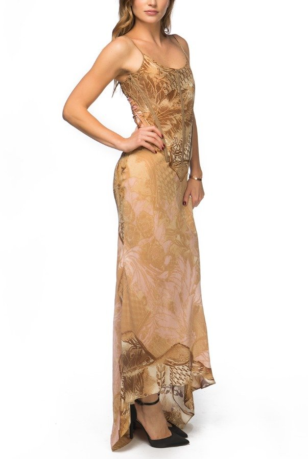 Roberto Cavalli Gold Trim Corset Dress