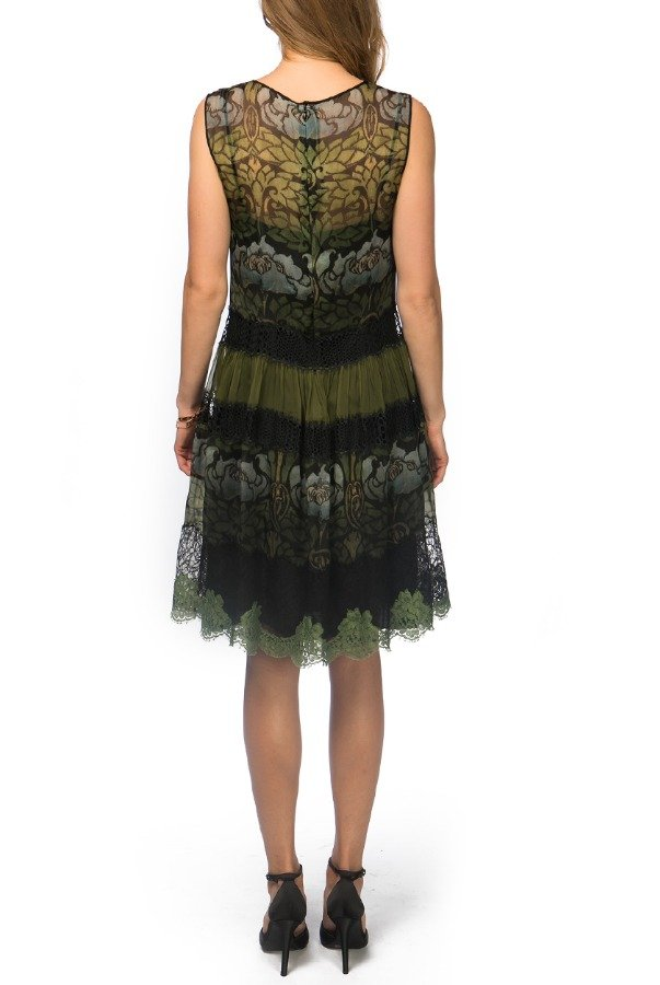 Alberta Ferretti Sleeveless Two Toned Floral Printed Dress