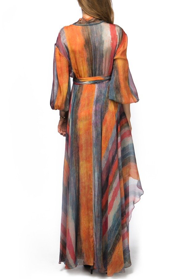 Beatriz Camacho Abstract Stripped Pattern Flowy Dress