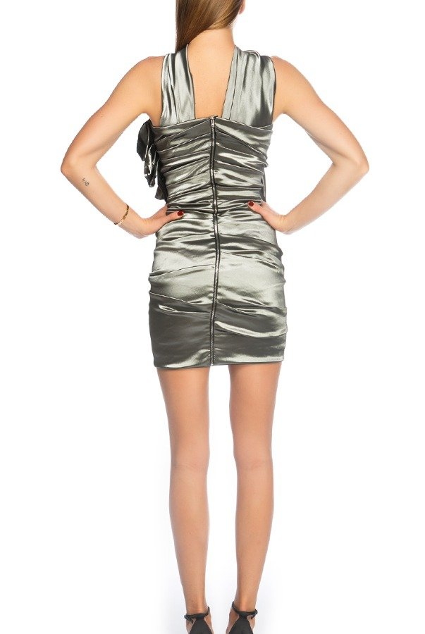 Isabel Marant Etoilet Silver One Shoulder Ruched Evening Mini Dress